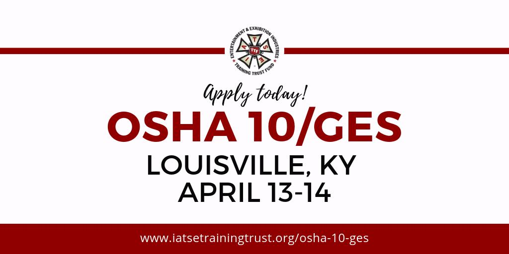 The Training Trust Fund is now accepting applications for the OSHA 10 training in Louisville. Get your OSHA card at no cost. Download an application at http://www.iatsetrainingtrust.org/osha-10-ges  #TTFTuesdays