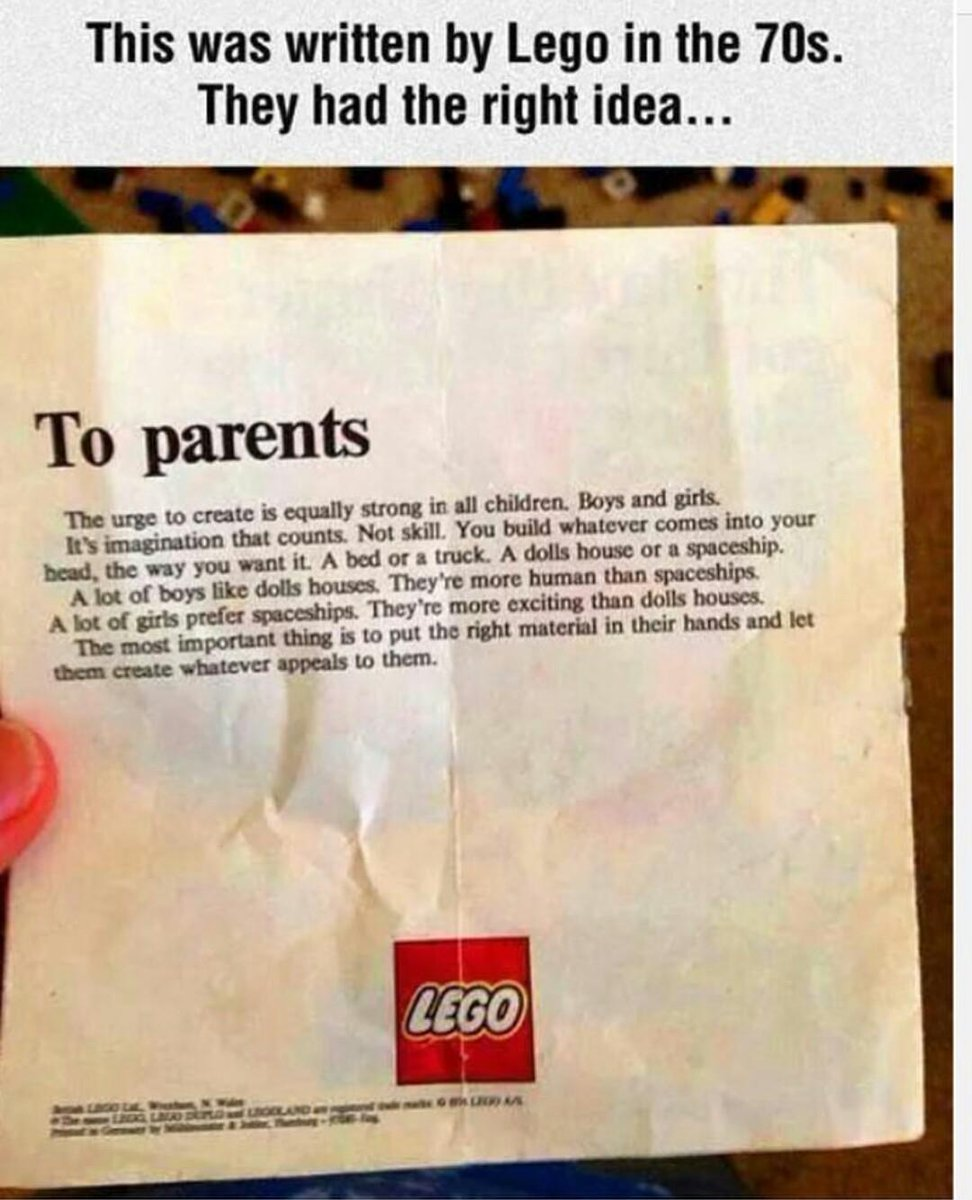 LEGO insert from the 1970s gets it right.