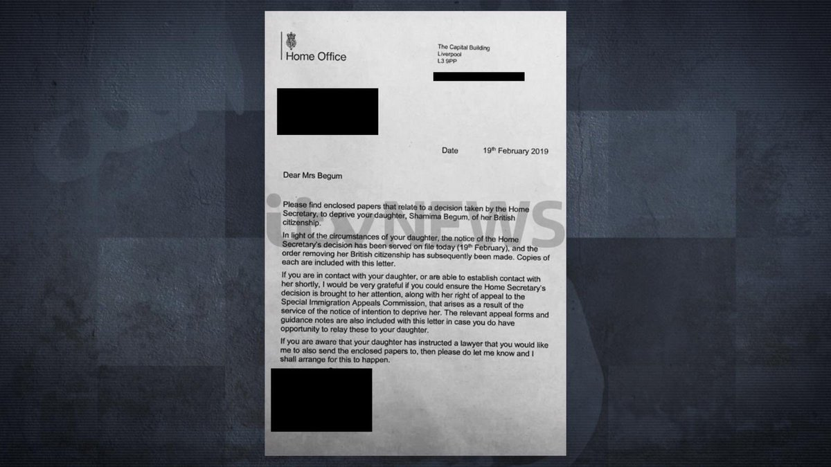 @rmdbarrett Wow.   The  #UK has revoked  #ISIS wife Shamima Begum's citizenship, effectively banning her from returning.  That would suggest she holds a dual nationality -- otherwise, I believe the UK just broke international law...?  [Image via  @RohitKachrooITV) https://t.c