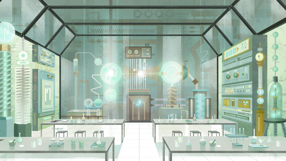 Dr. Bellum's lab that I designed for Carmen Sandiego! It was super fun to work on it *_* Can't thank enough my art directors Sylvia Liu and Eastwood Wong for  amazing color script and guidance!! #CarmenSandiego #whereisshe #animation #netflix