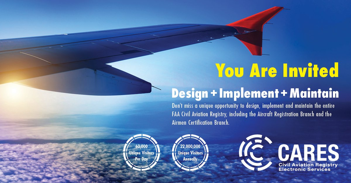 There is still time to participate in the Civil Aviation Registry Electronic Services (CARES) #marketsurvey. This wide-open market survey invites participants with ideas to help manage, maintain & monetize millions of #airmen and #aircraft registrations.  https://t.co/5eN3TBfuaL