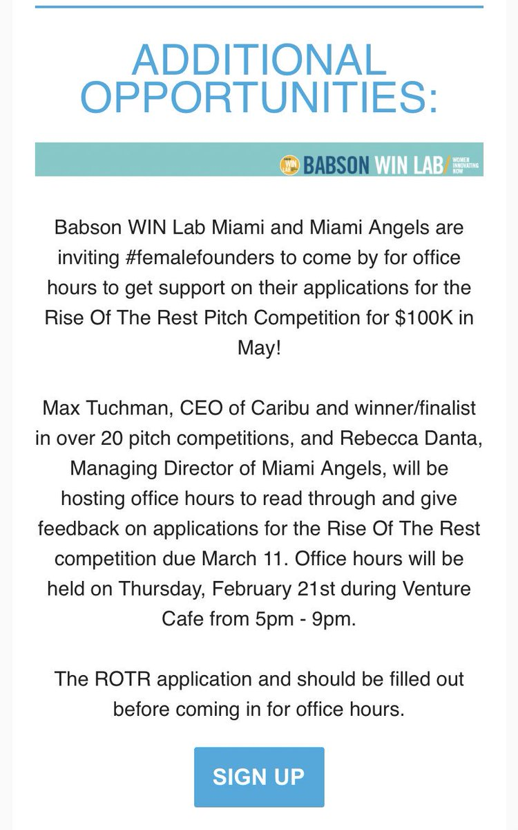 Thx @refreshmiami for reminding awesome #FemaleFounders about our office hours to help them with their #RiseOfTheRest applications to pitch for $100K!! 😘 @BabsonWIN @MiamiAngelsVC @VentureCafeMIA @CIC_Miami