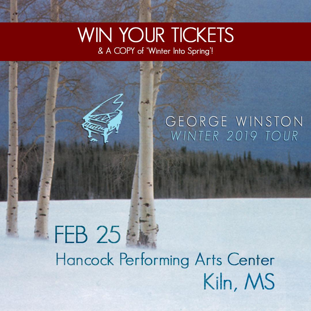 """Only three days left to enter for a chance to win a pair of tickets for an evening with George Winston at the Hancock Performing Arts Center in Kiln, MS on February 25th, and a copy of his album """"Winter into Spring""""! https://fanlink.to/KilnGiveaway"""