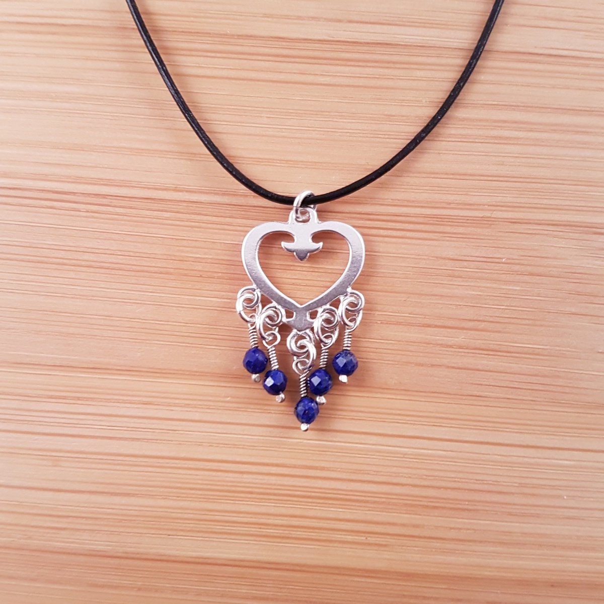 Lapis lazuli and silver heart pendant