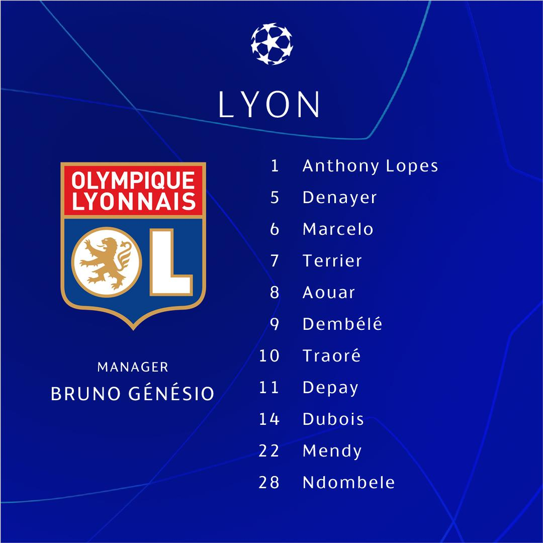 ℹ️ Tonight's teams in Lyon 💪  #UCL