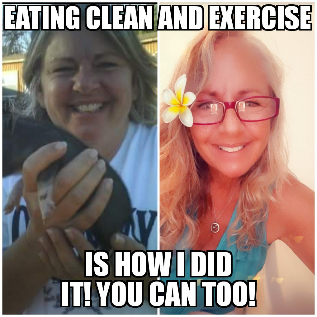 This is me...before and after. NO MAGIC PILLS, POWDERS OR POTIONS! And NO DEPRIVATION of the &quot;bad foods&quot; I loved!!! I ate clean most of the time (When I didn&#39;t I practiced moderation) and some form of exercise daily (sometimes as simple as going for a walk) #eatclean #exercise<br>http://pic.twitter.com/PL5zkX62sv