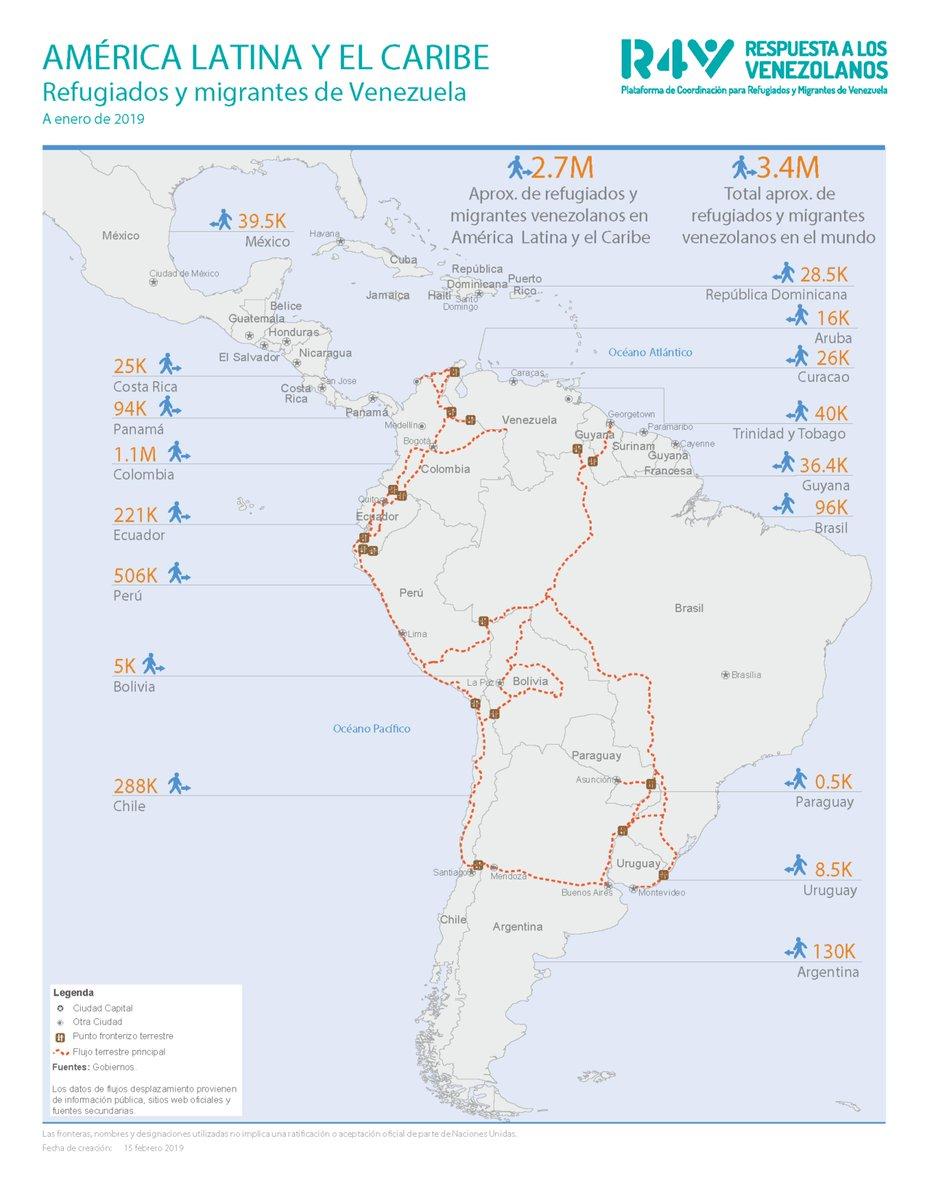 Mapa de los movimientos terrestres de personas refugiadas y migrantes de Venezuela en América Latina y el Caribe, datos actualizados a enero de 2019. Más información en https://r4v.info/