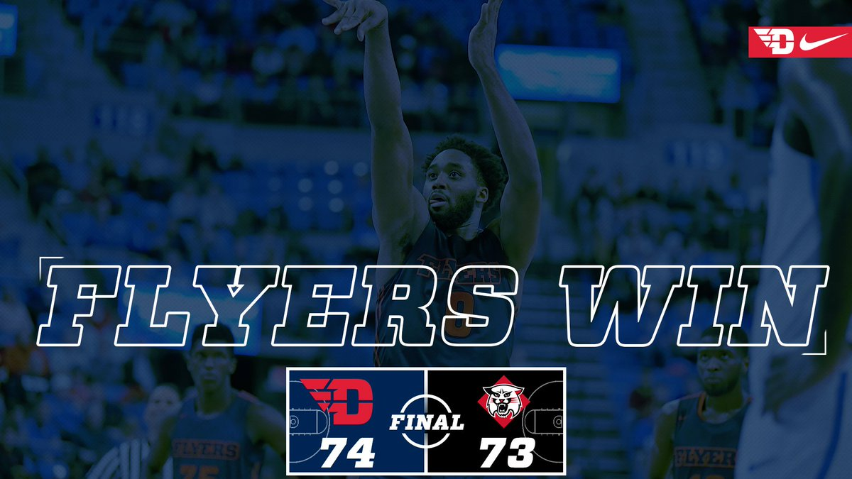 Flyers win! Josh Cunningham had a team-high 21 points and knocked down a game-winning free throw with 2.2 seconds to go to give Dayton a 74-73 road win over Davidson, snapping a 17-game home winning streak for the Wildcats! #JoinTheFight <br>http://pic.twitter.com/DCWhnOGhlN