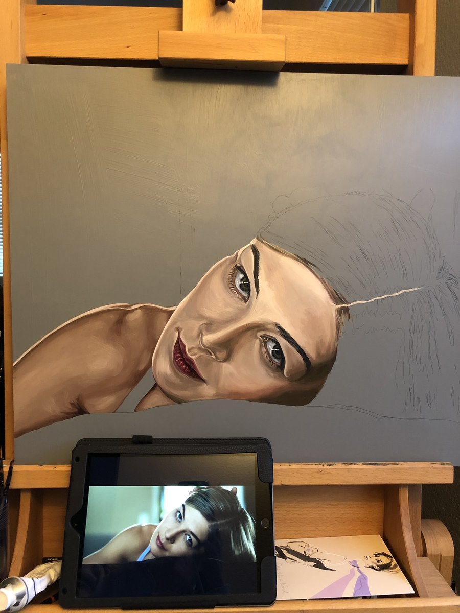 Pretty happy with the progress of my Gone Girl painting (final scene). Rosamund Pike - I absolutely love her beautifully psychotic performance in this movie! <br>http://pic.twitter.com/mxy0Hn7rRG