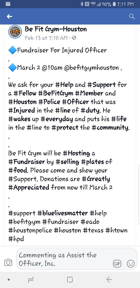 March 2, Be Fit Gym will be hosting a bbq fundraiser for an injured HPD officer, if you are in the area please stop by 2420 Rusk and show your support!!!!!<br>http://pic.twitter.com/96Dma2Mjud