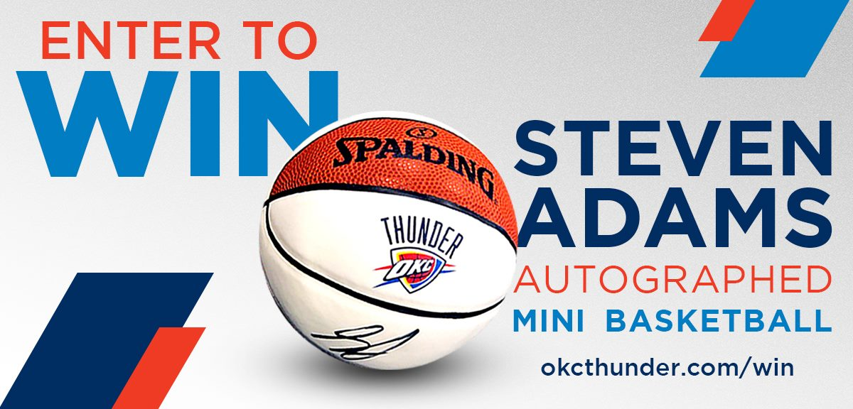 An autographed Steven Adams basketball is calling your name...  Enter to win it NOW: 💻// http://okcthunder.com/win (open to Oklahoma residents only)