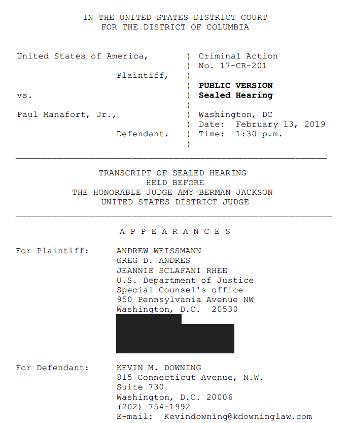 We have the transcript to the Feb. 13 sealed Manafort hearing, where Judge Jackson found Manafort lied/did not lie to the Special Counsel/FBI.  Excerpts below.