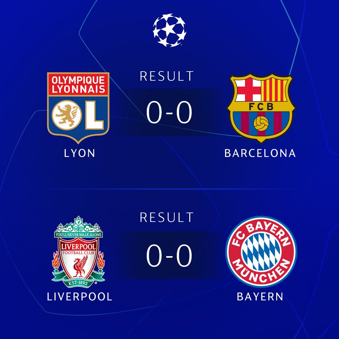 ⏰ RESULTS ⏰  🔴🔵 Lopes denies Messi, Busquets & Barcelona as Lyon hold on 🔴⚪ Bayern stop 2018 runners-up Liverpool at Anfield   #UCL