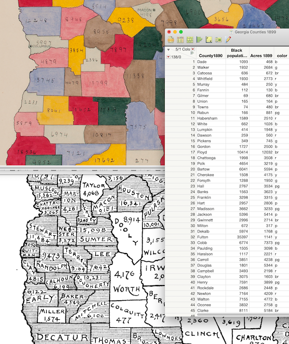 The W.E.B. Du Bois map, a Library of Congress map of Georgia counties, and a JMP table with the data from the Library of Congress map