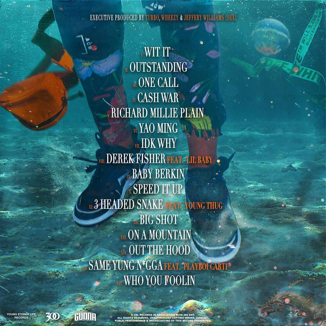 🌊 @1GunnaGunna's 'Drip or Drown 2' track list 🌊  Features from @lilbaby4PF, @youngthug & @playboicarti