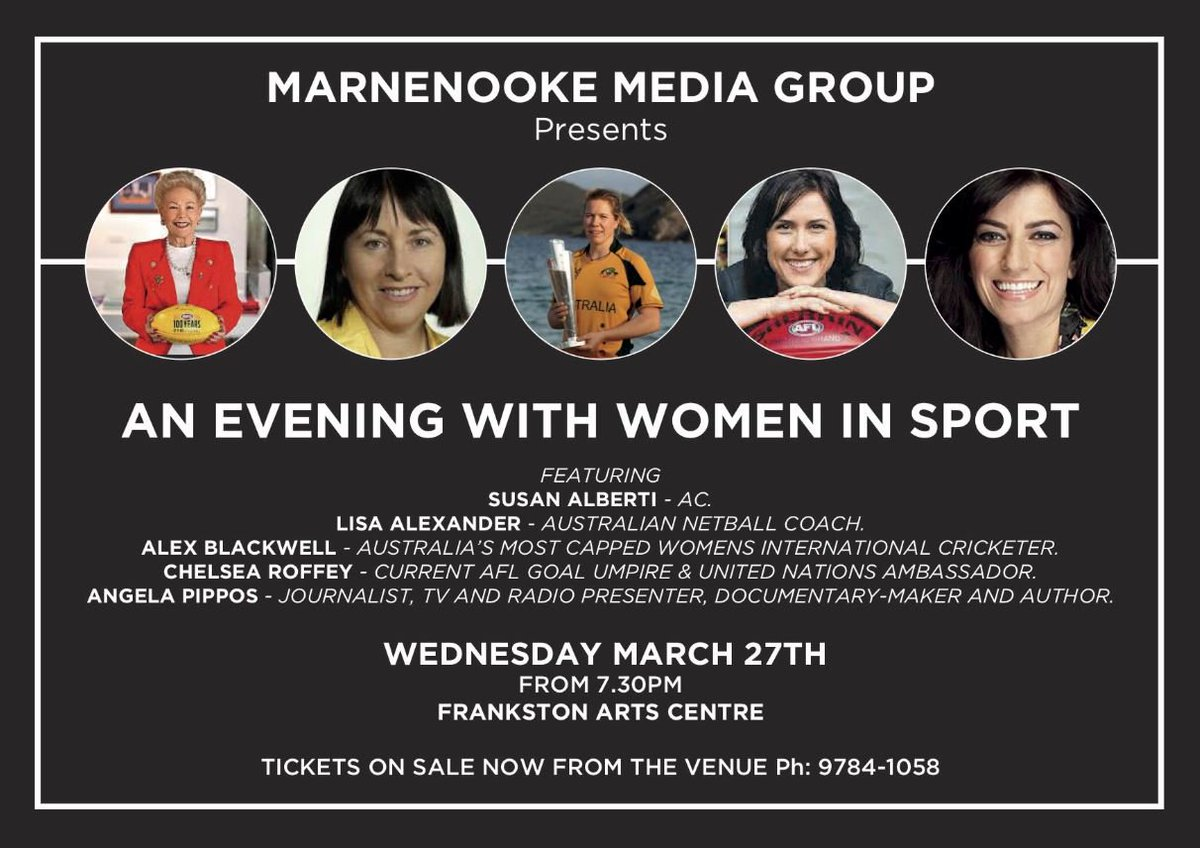 ...  SouthernStars legend  alexblackwell2 as they discuss the world of  women in sports. Buy tickets here - https   bit.ly 2BTmxIP pic.twitter .com 5q3XG3GS4z 5a99beaf1