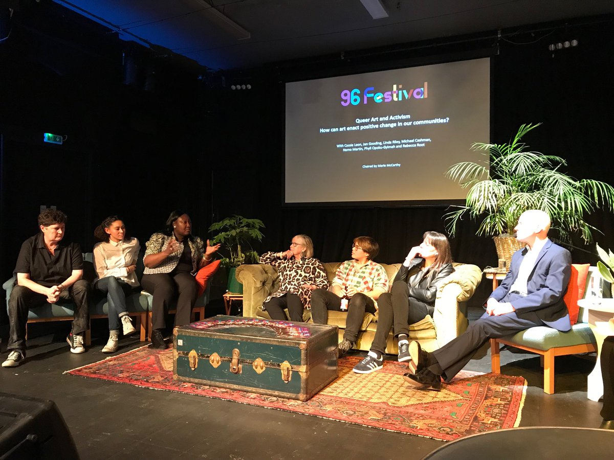 @Omnibus_Theatre launching #96Fest with @MsLadyPhyll @mcashmanCBE @LindaRiley8  & @Jan_Gooding. Thought provoking conversation around art & activism.