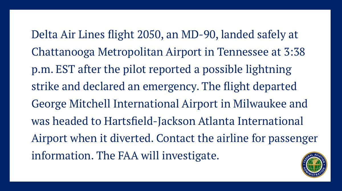 FAA Statement on Delta Air Lines flight 2050: