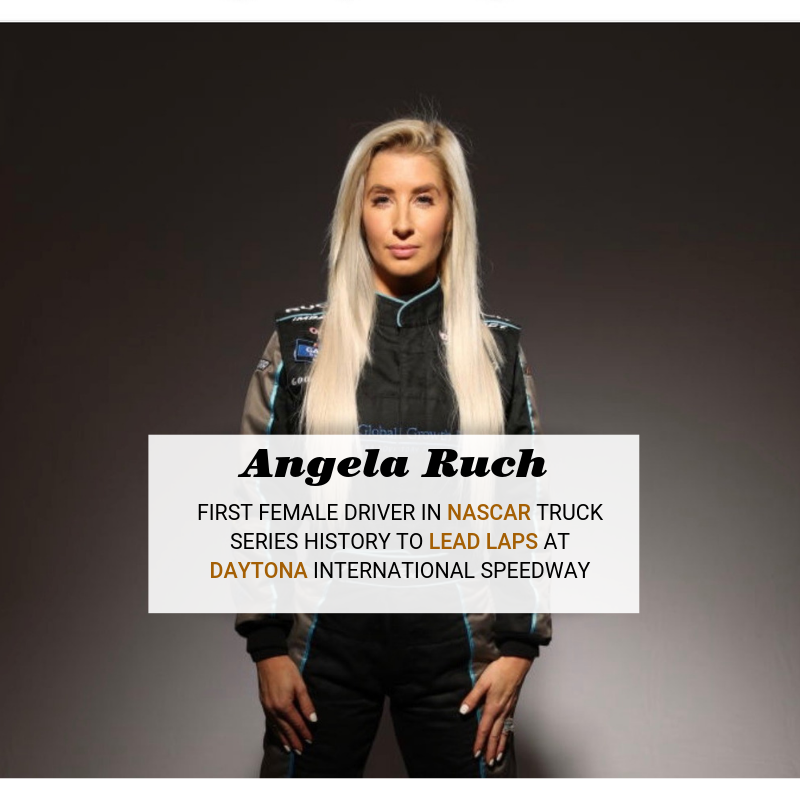 Angela Ruch is the first female driver in #NASCAR #TruckSeries history to lead laps at #Daytona 🔥🏁🏎😊 Wow!