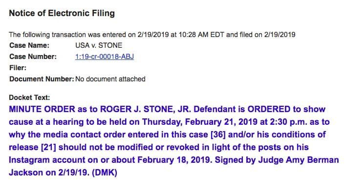 Roger Stone can't help himself, and now the judge who had issued a gag order is pissed.