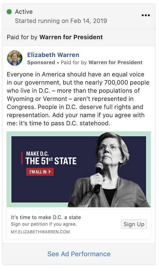 .@ewarren is running Facebook list-building ads focused on D.C. statehood -->