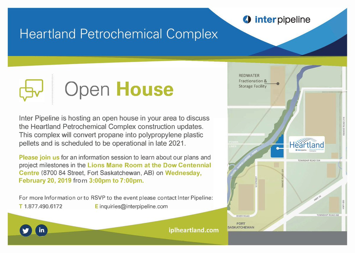 Join us tomorrow at our Open House in Fort Saskatchewan, AB. Learn more about the Heartland Petrochemical Complex, Inter Pipeline and employment opportunities