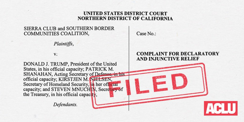 BREAKING: We just filed our lawsuit challenging President Trump's national emergency declaration to secure funds for a border wall.