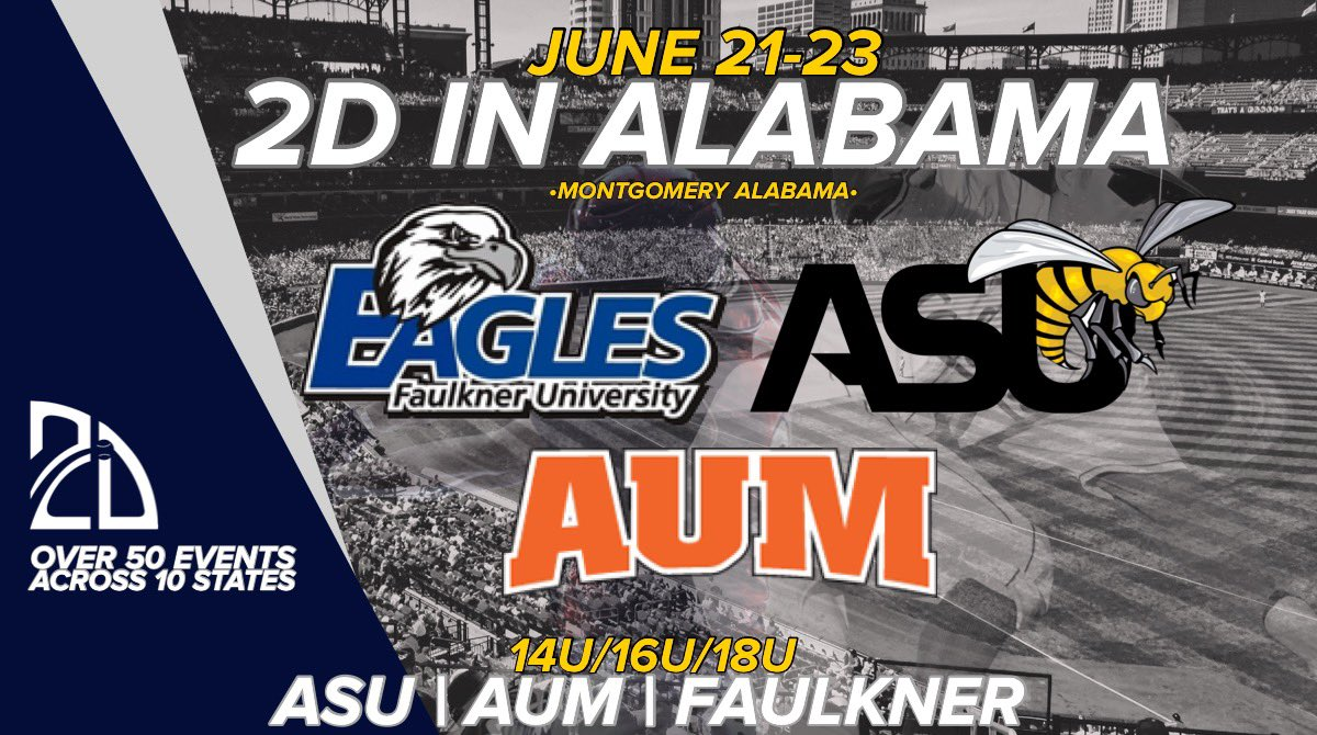 Headed to Alabama!👊🏟  Big time event this summer! 🗓June 21-23 🏟Montgomery, AL 👀Colleges will be watching.  http://Play.2Dsports.org