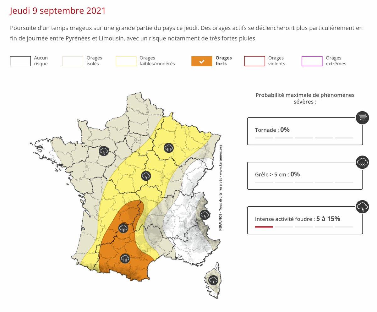 Poursuite d'un temps orageux sur une grande partie du pays ce jeudi. Des #orages actifs se déclencheront plus particulièrement en fin de journée entre #Pyrénées et #Limousin, avec un risque notamment de très fortes pluies. Bulletin complet ->