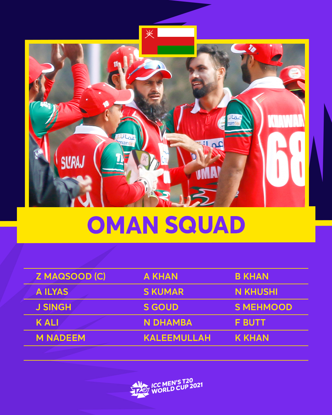 Oman Squad For Mens T20 WC 2021