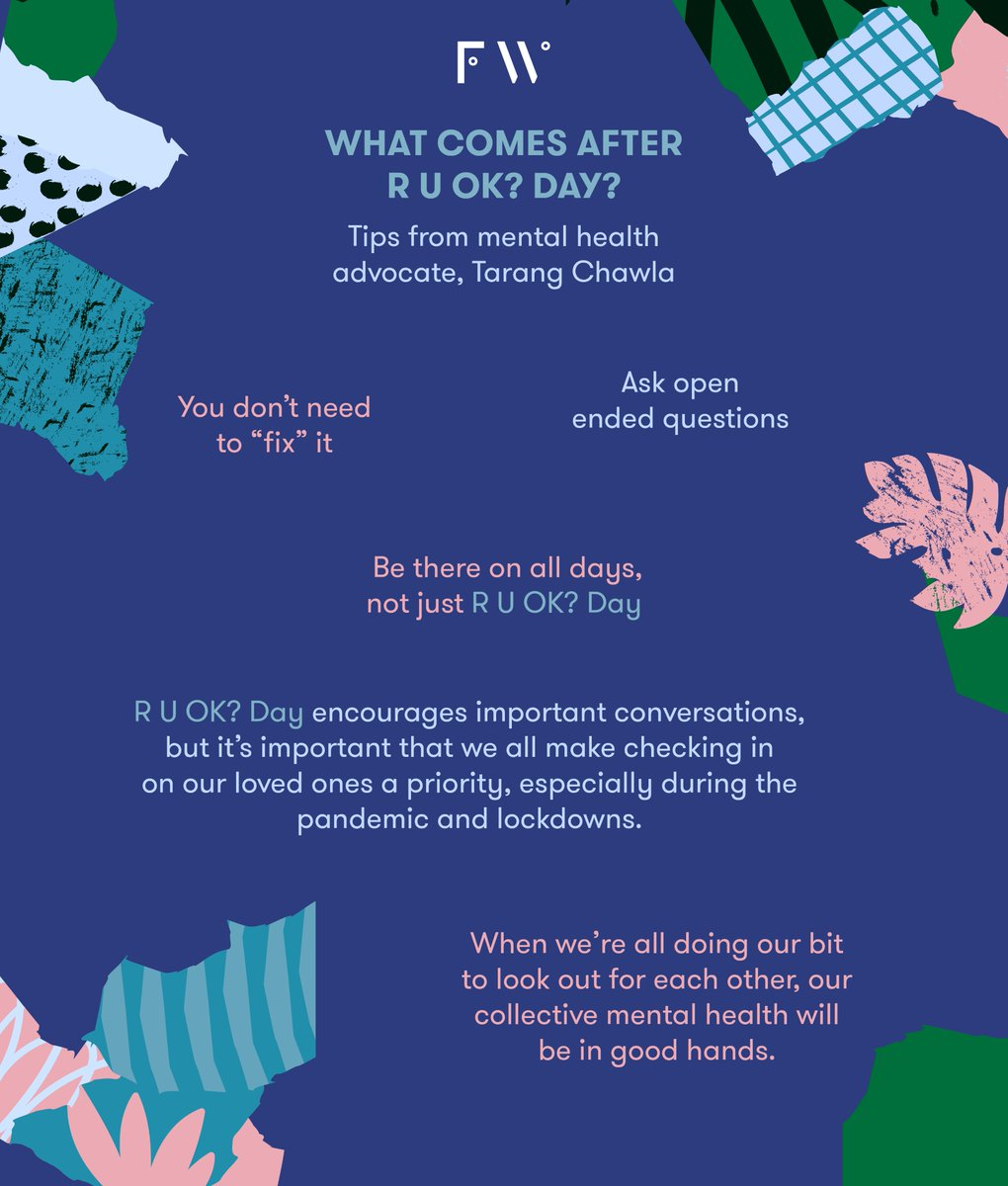 Some wonderful tips on what comes after R U OK from mental health advocate @tarang_chawla 👏 If you're struggling, remember there is always help. You can reach Lifeline on 13 11 14 or Beyond Blue on 1300 224 636.