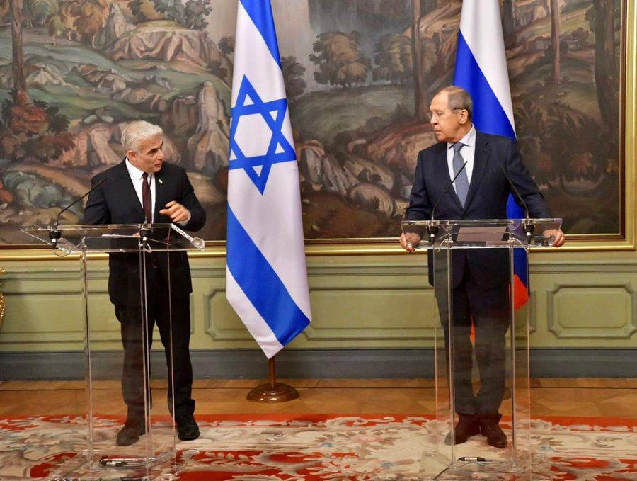"""وزير الخارجية لبيد بمؤتمر صحفي مع نظيره لافروف:"""" تقرير  الوكالة الدولية للطاقة"""