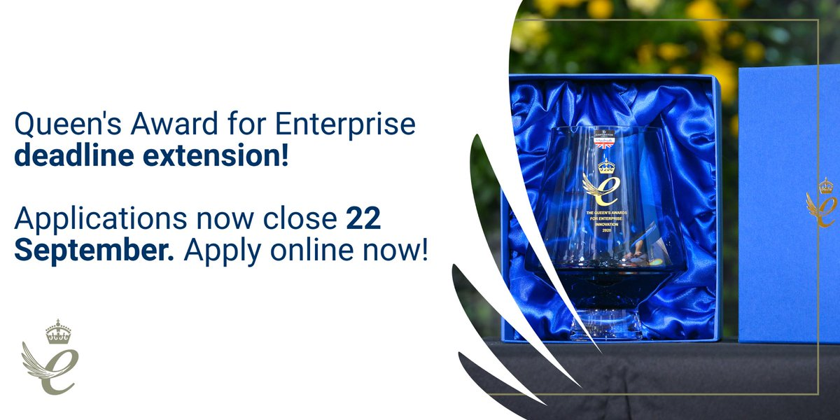 I have written to all UK businesses about the extension to enter the #QueensAwards for Enterprise. We want as many businesses as possible to have the opportunity to apply and be recognised for their achievements. More info and enter here: gov.uk/government/spe…