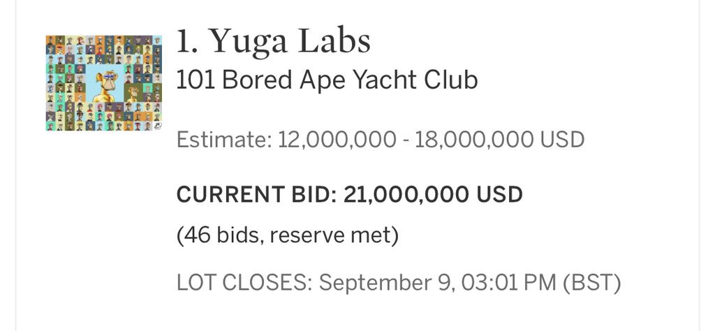$21,000,000 Bid. Probably Nothing. @BoredApeYC