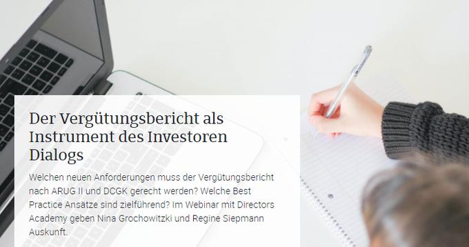 """Veranstaltungs-Tipp: 21. September 2021: Webinar: """"Der Vergütungsbericht als Instrument des I...."""
