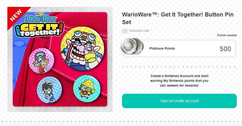 WarioWare: Get It Together! Button Pin Set 500 Platinum Coins via My Nintendo.