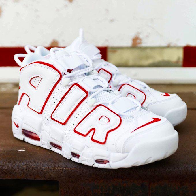 Available via Footlocker Nike Air More Uptempo 'White/Varsity Red' =