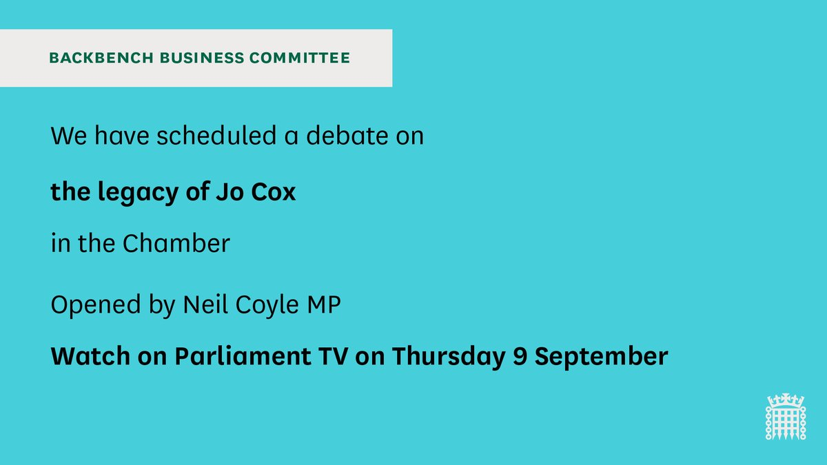 In the Chamber, MPs are now holding a #BackbenchBusiness debate on the legacy of Jo Cox. The debate was put forward by @coyleneil You follow along live at Parliament TV 📺 parliamentlive.tv/Commons