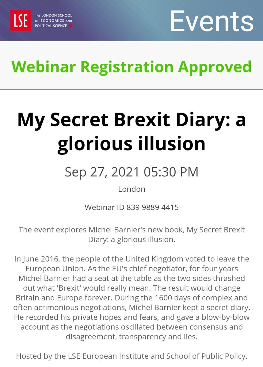 Just registered for what will prove to be a fab event by @LSEpublicevents with @MichelBarnier 😊
