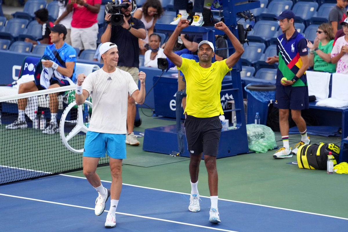 That FINALS feeling🙌🙌 🇺🇸 Rajeev Ram and his doubles partner 🇬🇧 Joe Salisbury are officially in the Men's Doubles final