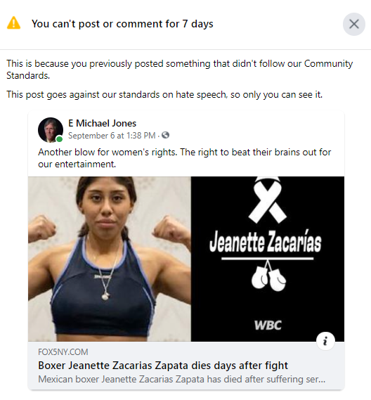 Now it's taboo to talk about women's boxing. Can Facebook please send us the definitive list of things we're not allowed to talk about?