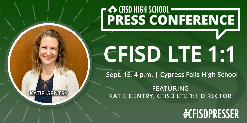 Today is the day! Thrilled to welcome @TeachTechKate to @cyfallshs & @cyfallspress this afternoon to talk with our #CFISDHJSN student journalists about the district's LTE 1:1 program!