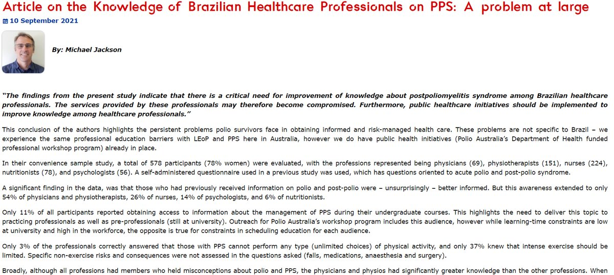👨🏫Health professional education is complex. In our latest blog post, Michael provides a commentary on a recent Brazilian study regarding polio related education. #research #blog #ClinicalEducation #postpolio  🔗https://t.co/s0aToiHFrS
