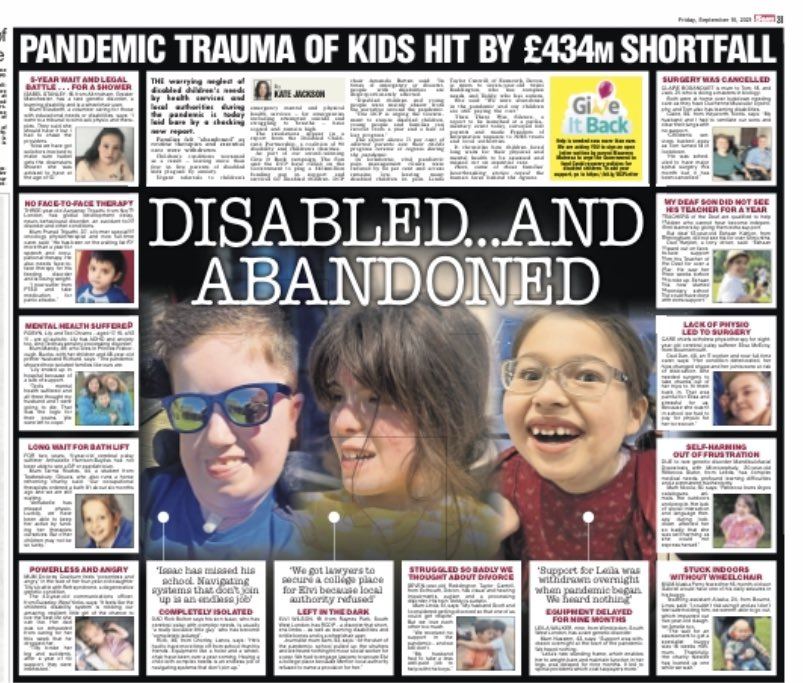 Dear @RishiSunak, you said this week you would consider funding a build back for disabled children abandoned in the #pandemic. Here's why that is vital in today's @TheSun Please read the @DCPcampaign report into what went wrong & what to do now. #giveitback #leftinlockdown