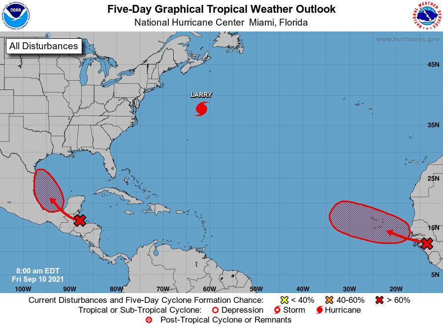 8 AM EDT: As we reach the peak of the Atlantic hurricane season today, NHC is monitoring two systems with a high chance of becoming tropical depressions in the next 5 days hurricanes.gov