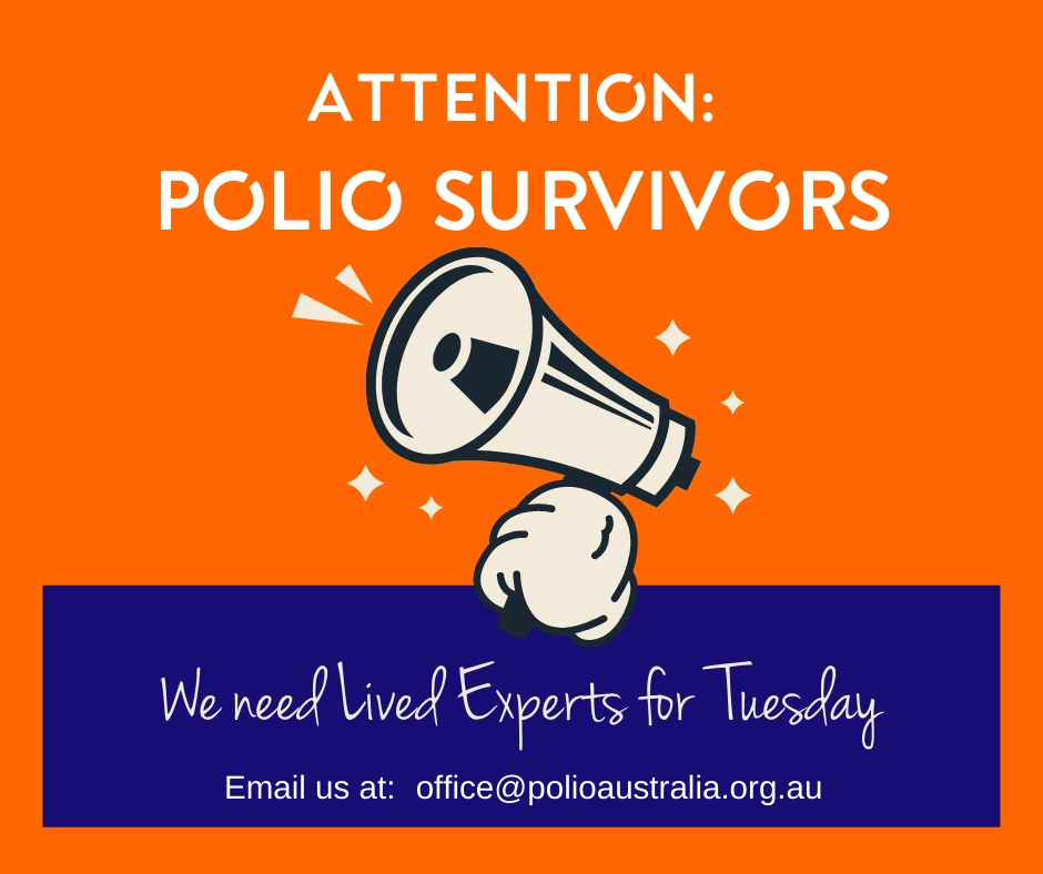 📢 Michael is looking for a Lived Expert for his Zoom Workshop next Tuesday 14th Sept. from 3-5pm AEST.  Join him in talking to health professionals about Late Effects of Polio and share your polio experience in a 10-15min segment.    Email: office@polioaustralia.org.au.