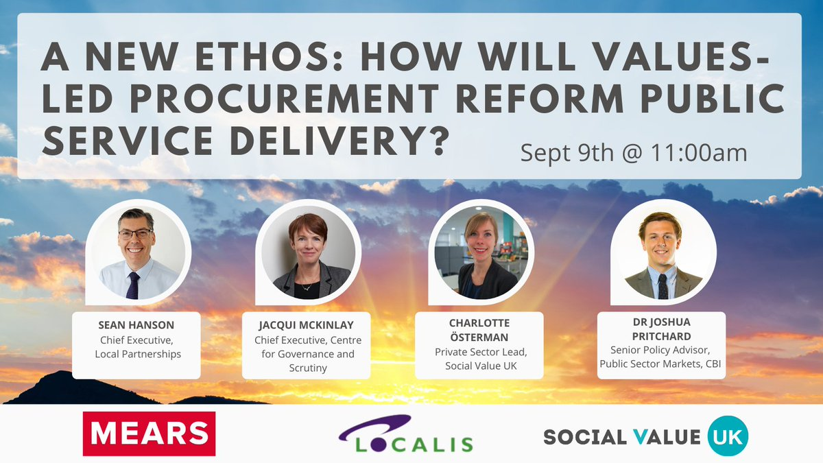 RT @Localis The 'New Ethos' discussion on value led procurement is now available on the Localis Youtube channel for viewing. #procurementvalues Link here: https://t.co/nJKfzYOxa1 - thank you to @mearsgroup and @socialvalueuk