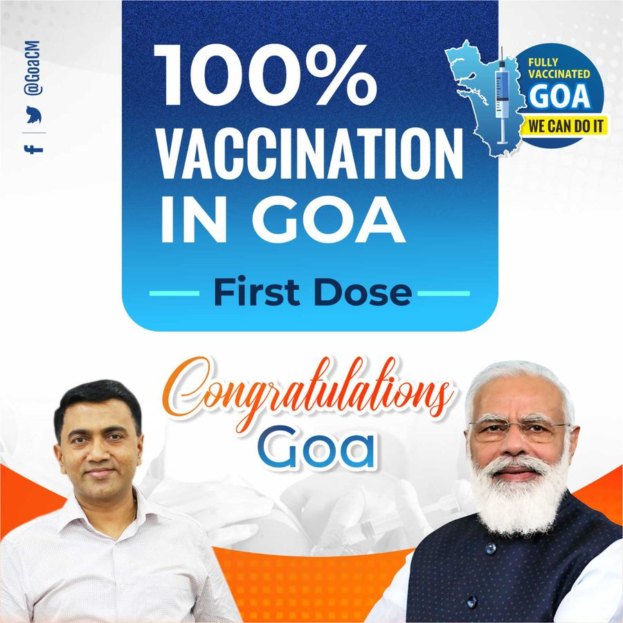 Goa achieved 100% population administered 1st dose of Covid Vaccine-PM Lauds