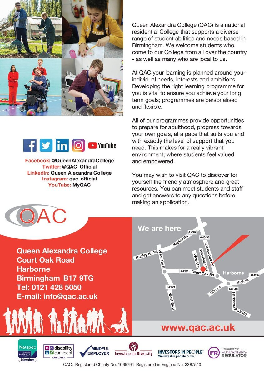 test Twitter Media - Queen Alexandra College will be hosting Open Day events for a variety of dates.  These events provide the opportunity to meet our staff and students plus discover more about QAC. Please note that you need to attend for the full duration of the session and must reserve a space. https://t.co/ctadwFdRaC