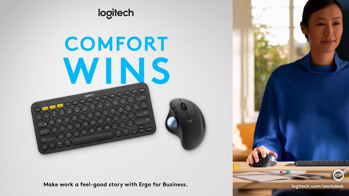 Did you know? 💡 Improved comfort driven by #ergonomic setups can drive higher productivity and work quality. #ErgoSeries for Business mice and keyboards make day-to-day work a feel better, do better story backed by science. Learn more: logitech.com/workdesk